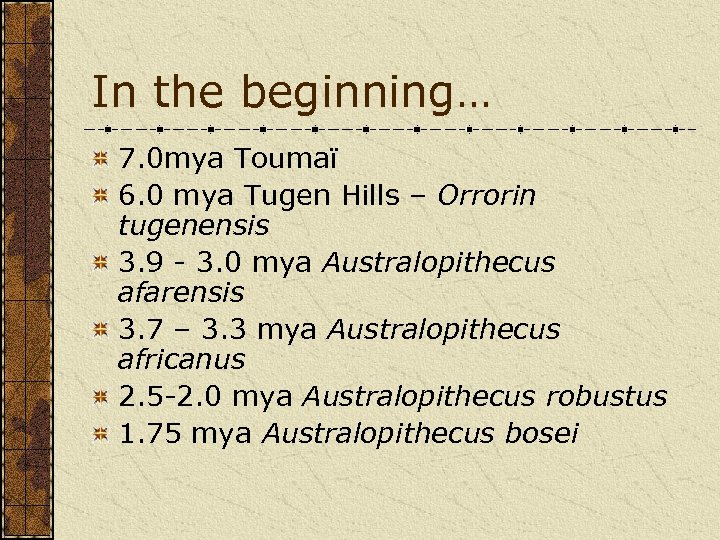 In the beginning… 7. 0 mya Toumaï 6. 0 mya Tugen Hills – Orrorin