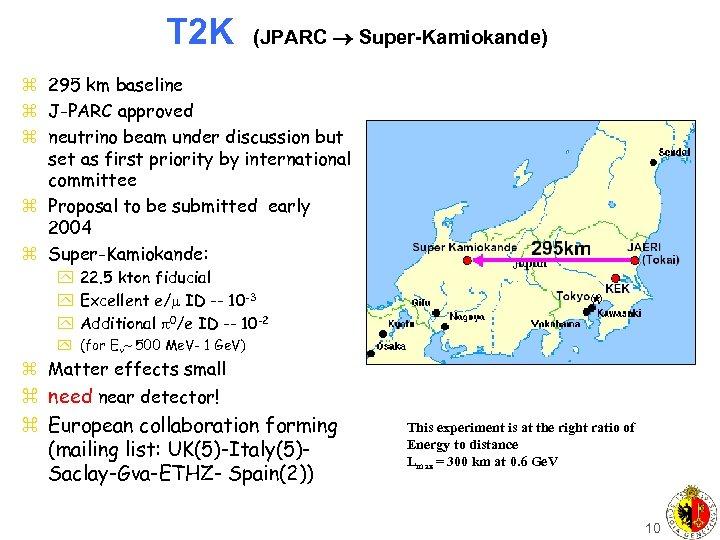 T 2 K (JPARC Super-Kamiokande) z 295 km baseline z J-PARC approved z neutrino
