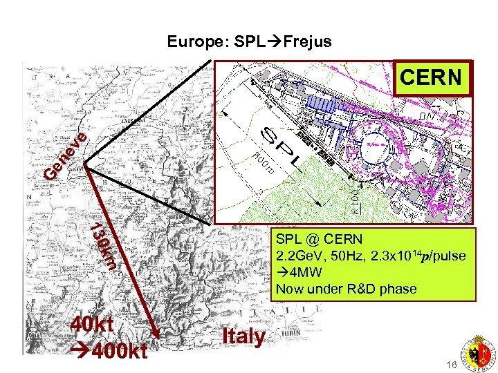 Europe: SPL Frejus Ge n ev e CERN 130 km SPL @ CERN 2.