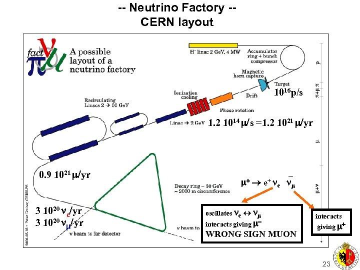 -- Neutrino Factory -CERN layout 1016 p/s 1. 2 1014 /s =1. 2 1021