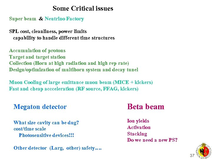 Some Critical issues Super beam & Neutrino Factory SPL cost, cleanliness, power limits capability