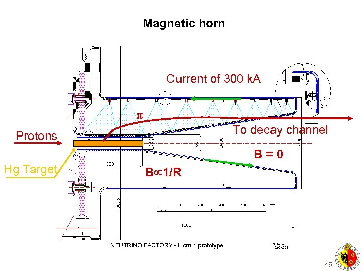 Magnetic horn Current of 300 k. A p To decay channel Protons B=0 Hg