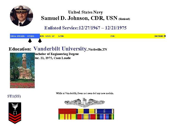 United States Navy Samuel D. Johnson, CDR, USN (Retired) Enlisted Service: 12/27/1967 – 12/21/1975