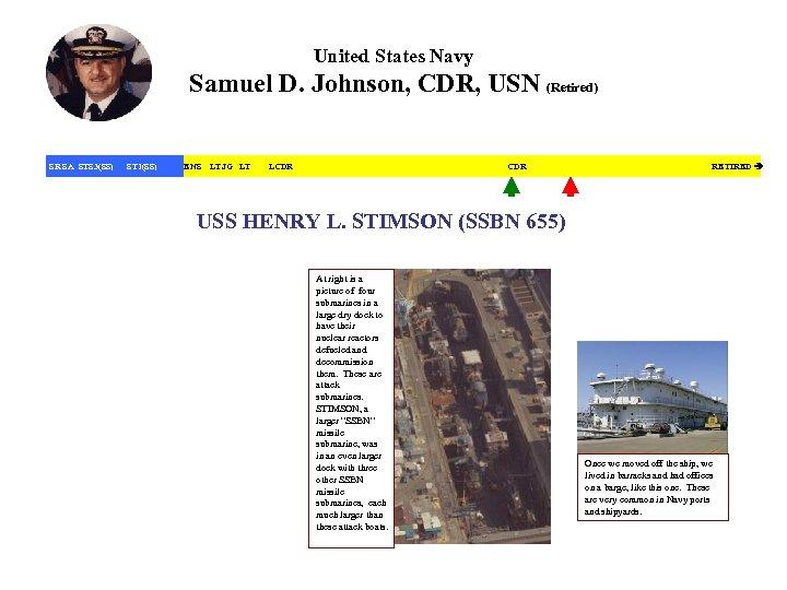 United States Navy Samuel D. Johnson, CDR, USN (Retired) SR SA STS 3(SS) ST