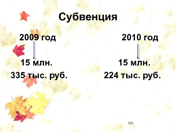 Субвенция 2009 год 15 млн. 335 тыс. руб. 2010 год 15 млн. 224 тыс.