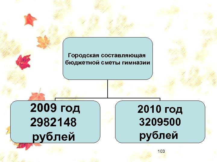 Городская составляющая бюджетной сметы гимназии 2009 год 2982148 рублей 2010 год 3209500 рублей 103
