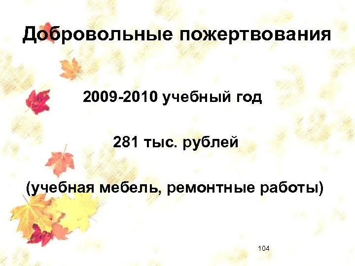 Добровольные пожертвования 2009 -2010 учебный год 281 тыс. рублей (учебная мебель, ремонтные работы) 104