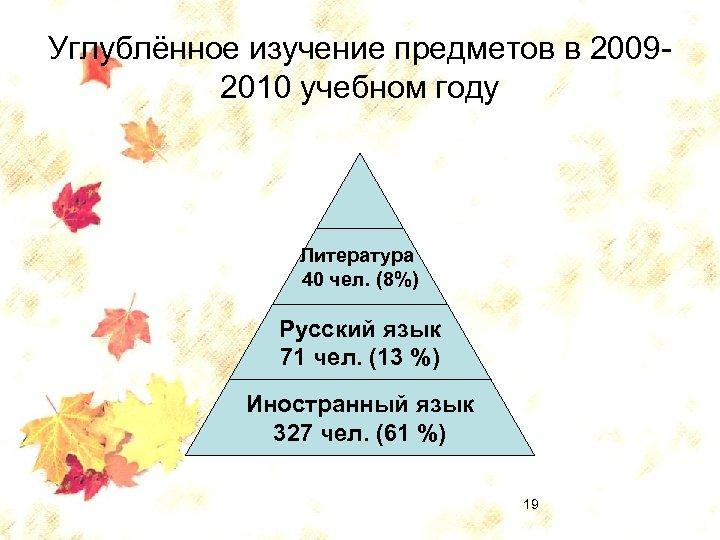 Углублённое изучение предметов в 20092010 учебном году Литература 40 чел. (8%) Русский язык 71