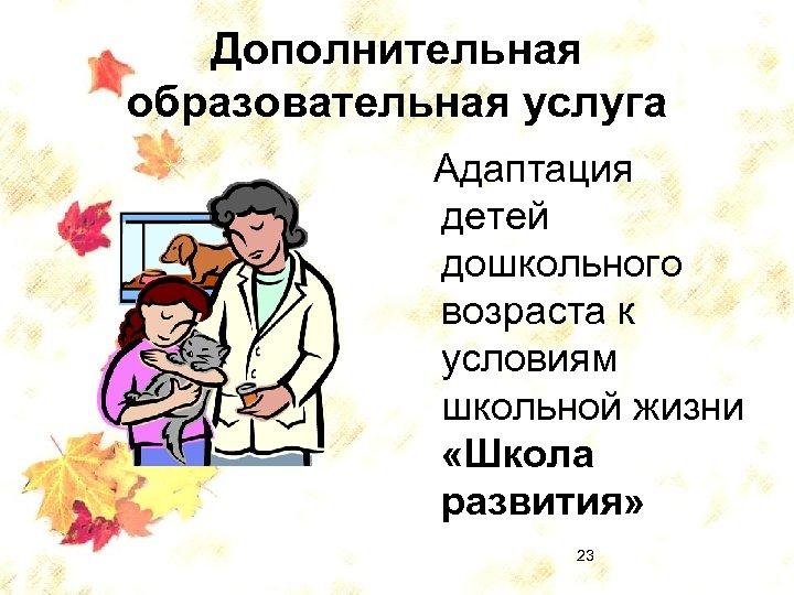 Дополнительная образовательная услуга Адаптация детей дошкольного возраста к условиям школьной жизни «Школа развития» 23