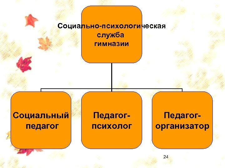 Социально-психологическая служба гимназии Социальный педагог Педагогпсихолог Педагогорганизатор 24