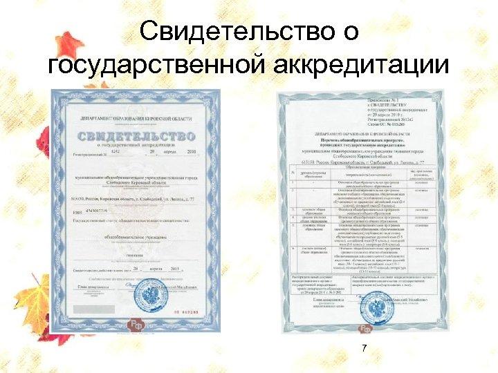 Свидетельство о государственной аккредитации 7
