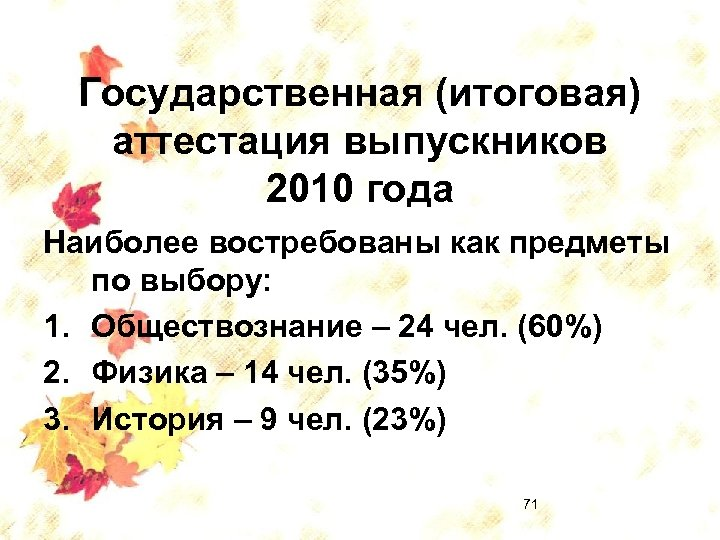Государственная (итоговая) аттестация выпускников 2010 года Наиболее востребованы как предметы по выбору: 1. Обществознание