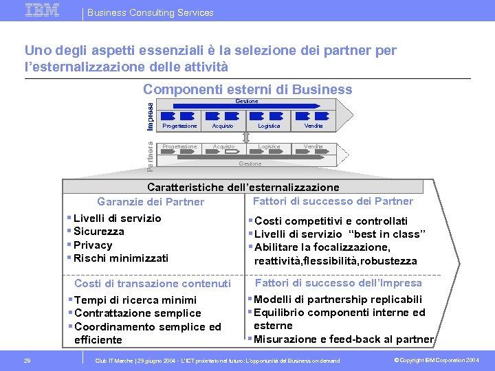 Business Consulting Services Uno degli aspetti essenziali è la selezione dei partner per l'esternalizzazione