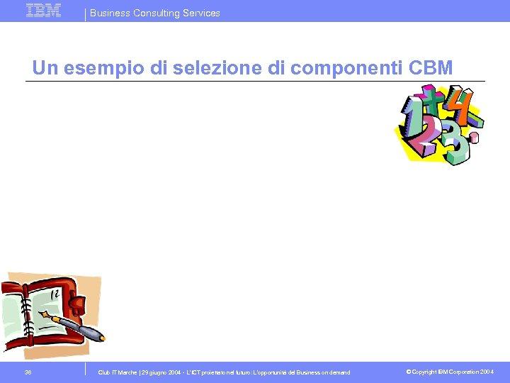 Business Consulting Services Un esempio di selezione di componenti CBM 36 Club IT Marche