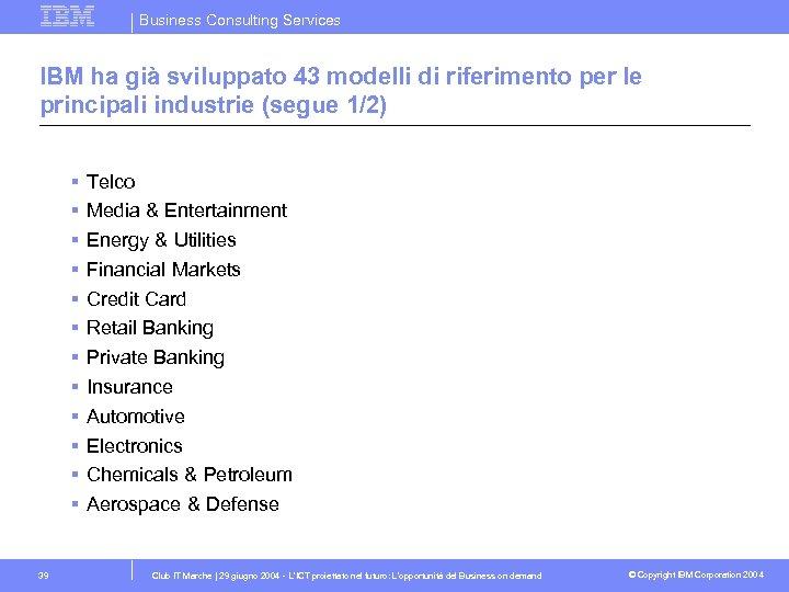 Business Consulting Services IBM ha già sviluppato 43 modelli di riferimento per le principali