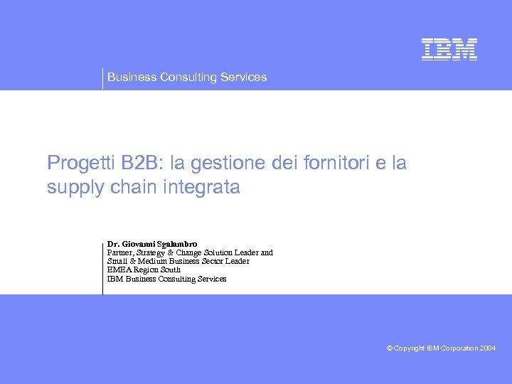 Business Consulting Services Progetti B 2 B: la gestione dei fornitori e la supply