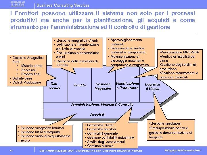 Business Consulting Services I Fornitori possono utilizzare il sistema non solo per i processi