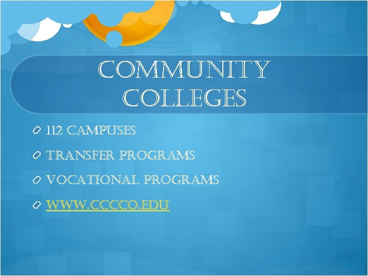 community colleges 112 campuses transfer programs vocational programs www. cccco. edu