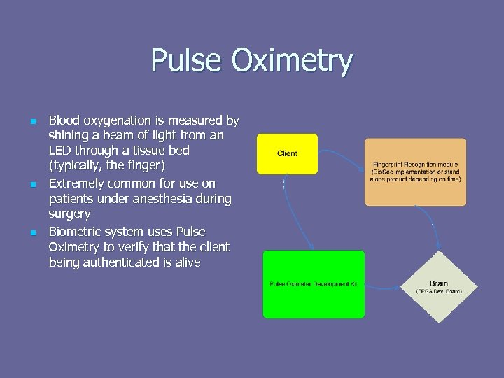 Pulse Oximetry n n n Blood oxygenation is measured by shining a beam of