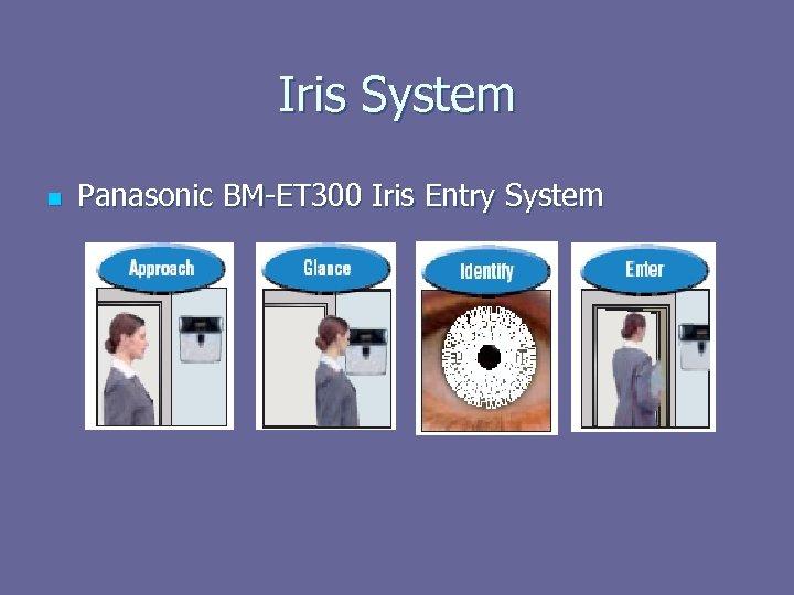 Iris System n Panasonic BM-ET 300 Iris Entry System