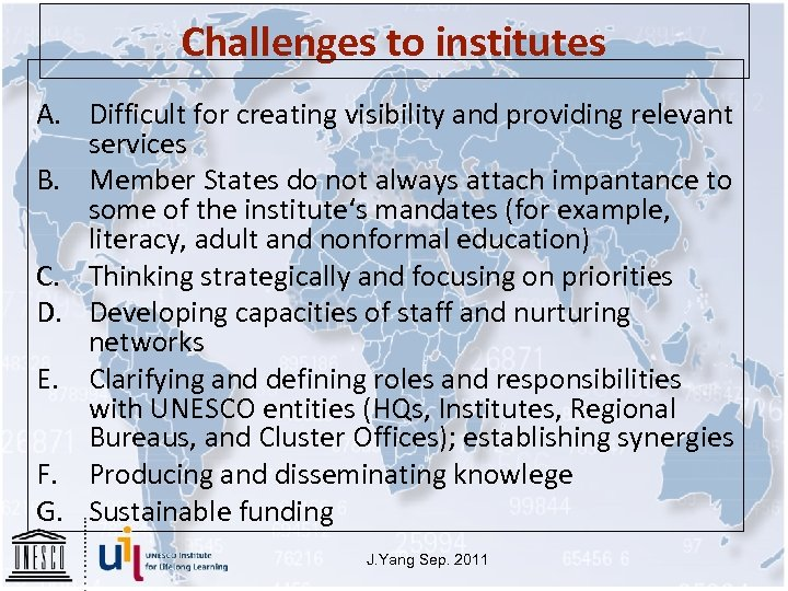 Challenges to institutes A. Difficult for creating visibility and providing relevant services B. Member