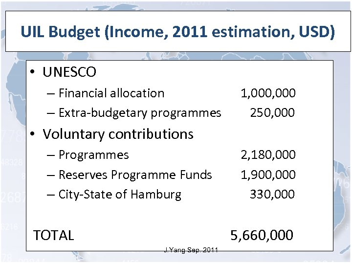 UIL Budget (Income, 2011 estimation, USD) • UNESCO – Financial allocation – Extra-budgetary programmes