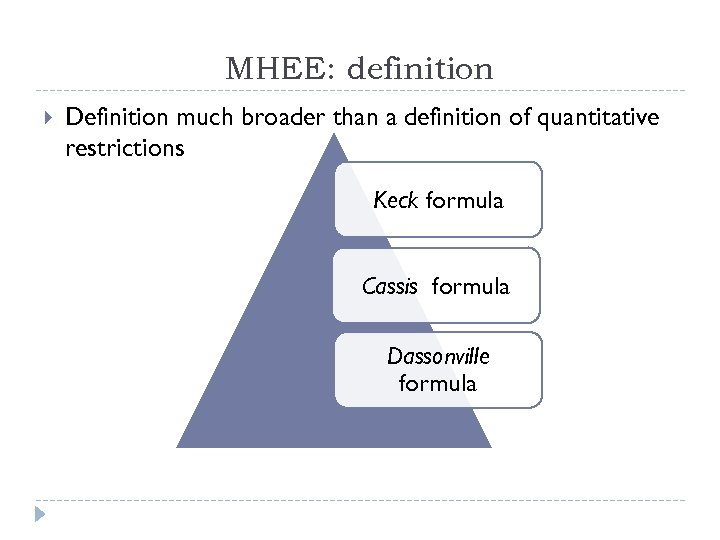 MHEE: definition Definition much broader than a definition of quantitative restrictions Keck formula Cassis