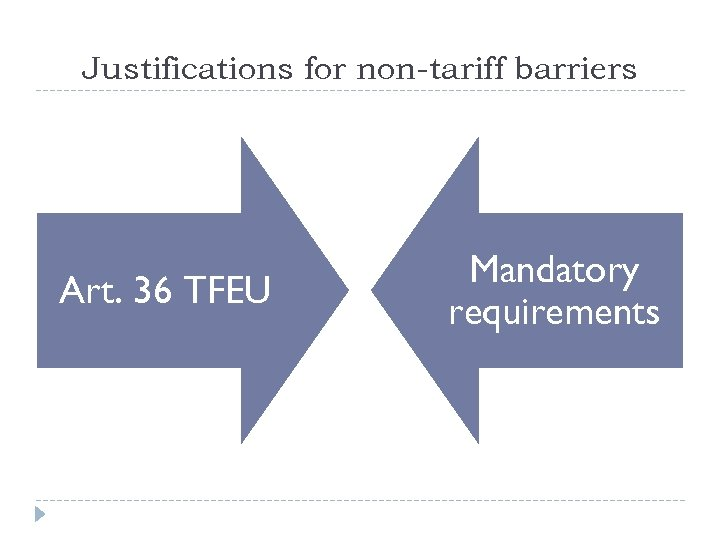Justifications for non-tariff barriers Art. 36 TFEU Mandatory requirements