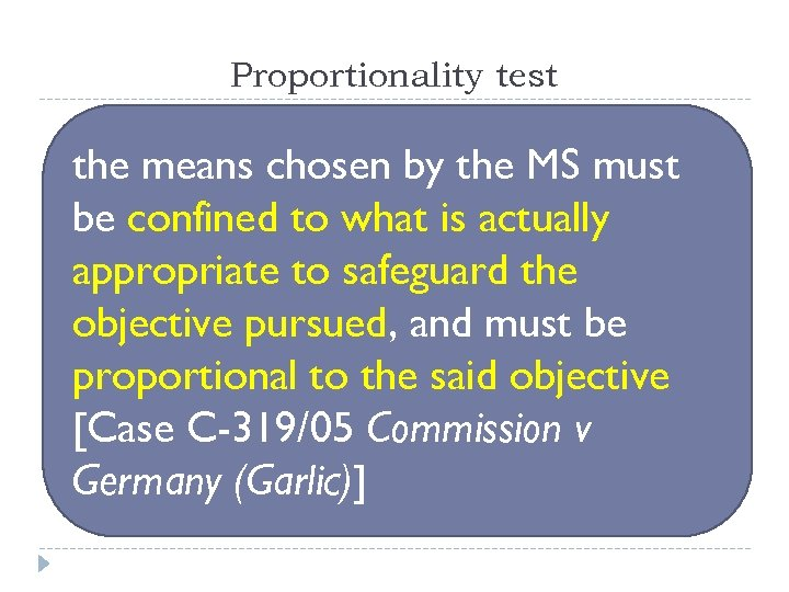 Proportionality test the means chosen by the MS must be confined to what is