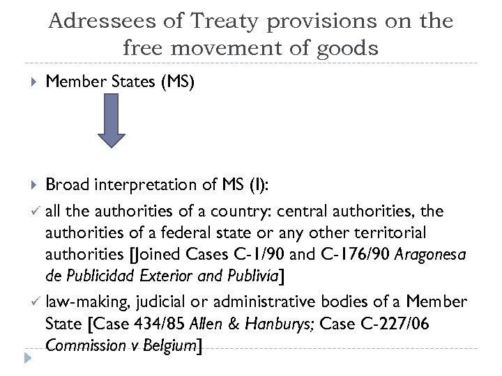 Adressees of Treaty provisions on the free movement of goods Member States (MS) Broad