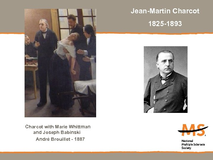 Jean-Martin Charcot 1825 -1893 Charcot with Marie Whittman and Joseph Babinski André Brouillet -