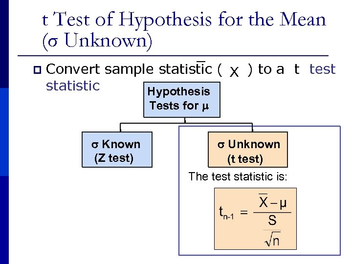 t Test of Hypothesis for the Mean (σ Unknown) p Convert sample statistic (