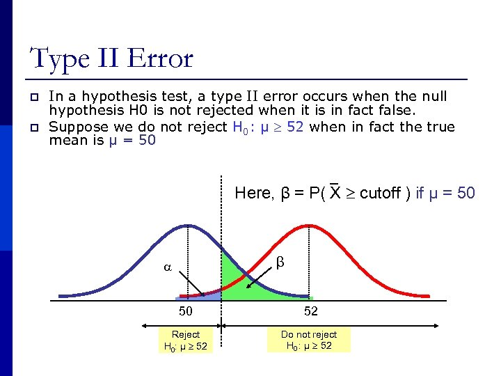 Type II Error p p In a hypothesis test, a type II error occurs