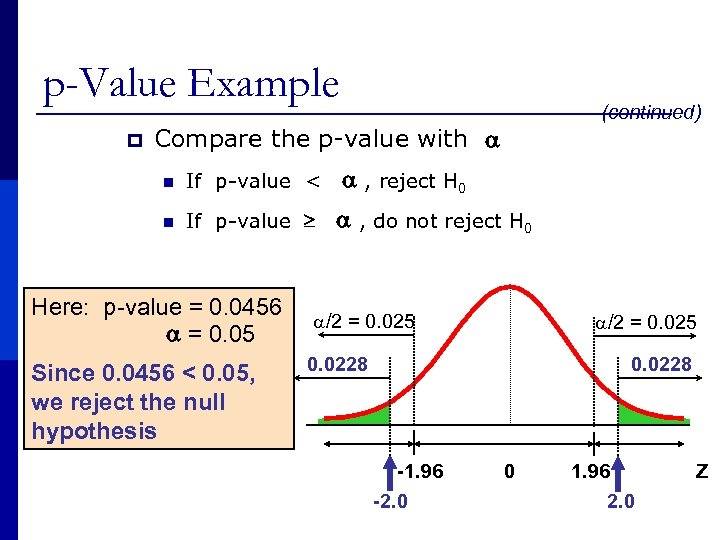 p-Value Example p (continued) Compare the p-value with n If p-value < , reject