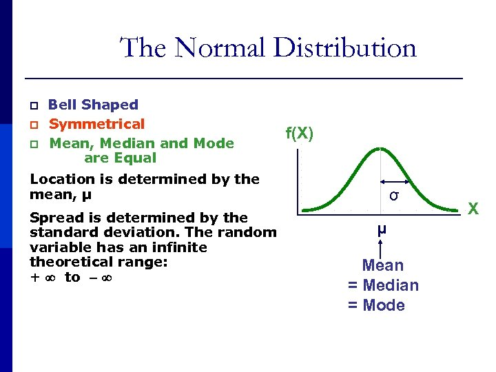 The Normal Distribution p 'Bell p p Shaped' Symmetrical Mean, Median and Mode are