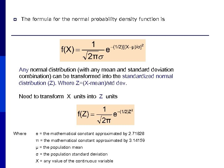 p The formula for the normal probability density function is Any normal distribution (with