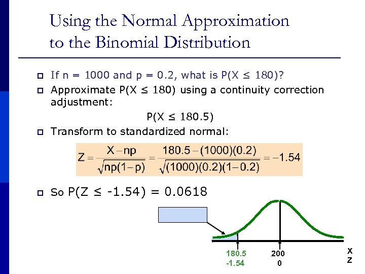 Using the Normal Approximation to the Binomial Distribution p If n = 1000 and