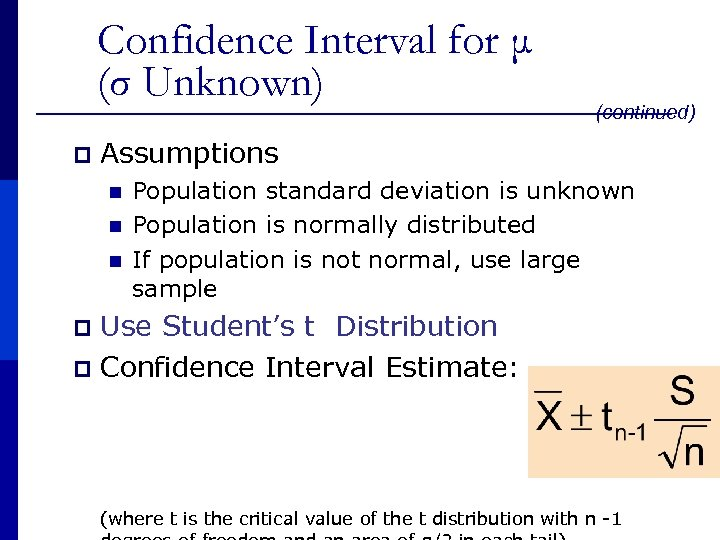 Confidence Interval for μ (σ Unknown) p (continued) Assumptions n n n Population standard