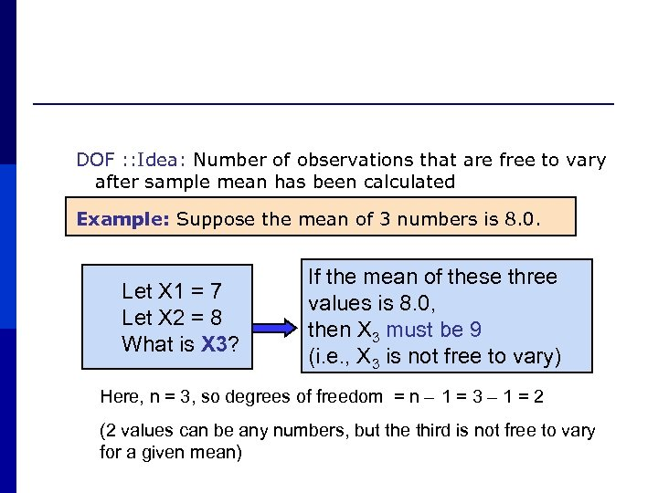 DOF : : Idea: Number of observations that are free to vary after sample