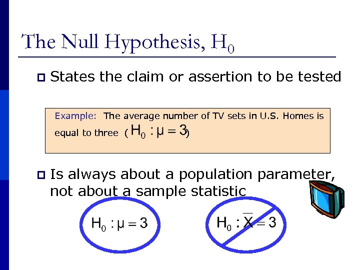 The Null Hypothesis, H 0 p States the claim or assertion to be tested