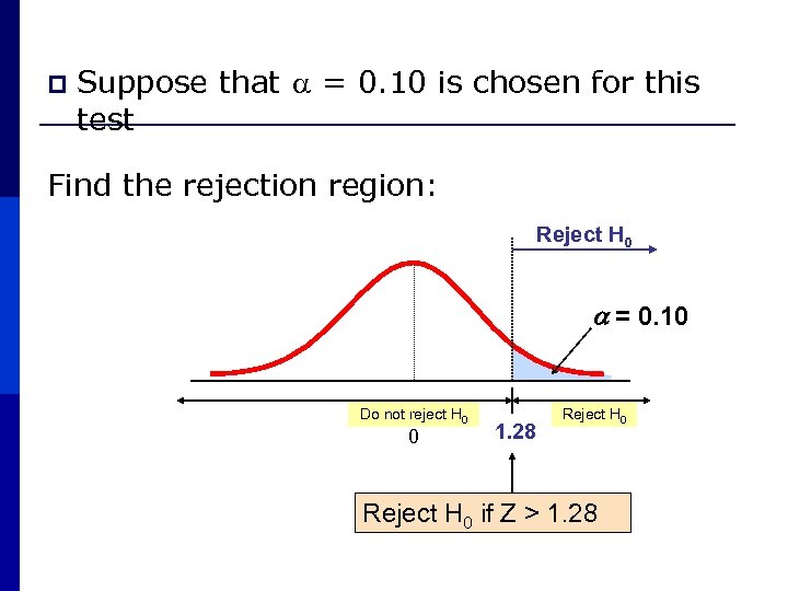 p Suppose that = 0. 10 is chosen for this test Find the rejection