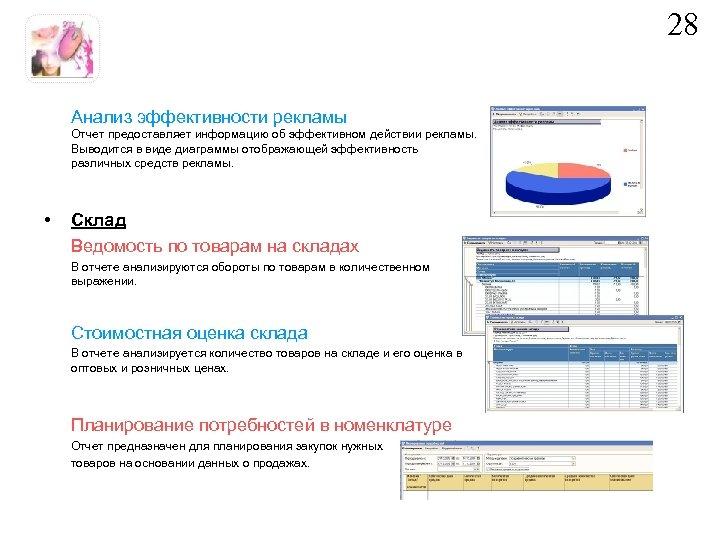 28 Анализ эффективности рекламы Отчет предоставляет информацию об эффективном действии рекламы. Выводится в виде
