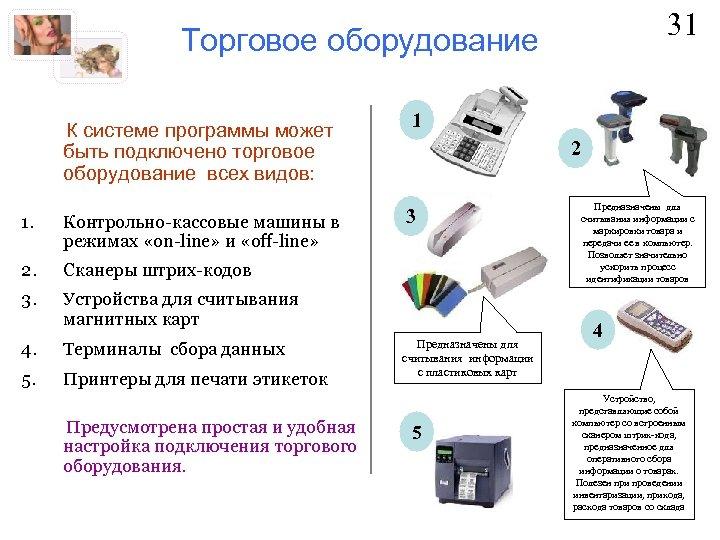 31 Торговое оборудование К системе программы может быть подключено торговое оборудование всех видов: 1.