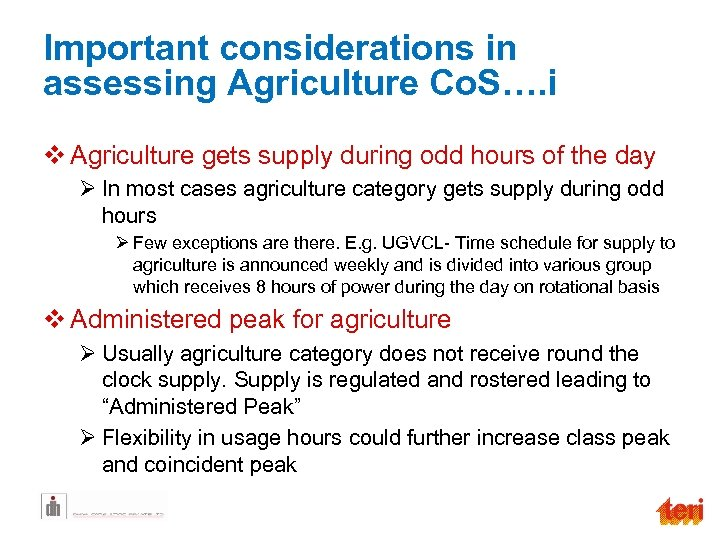 Important considerations in assessing Agriculture Co. S…. i v Agriculture gets supply during odd