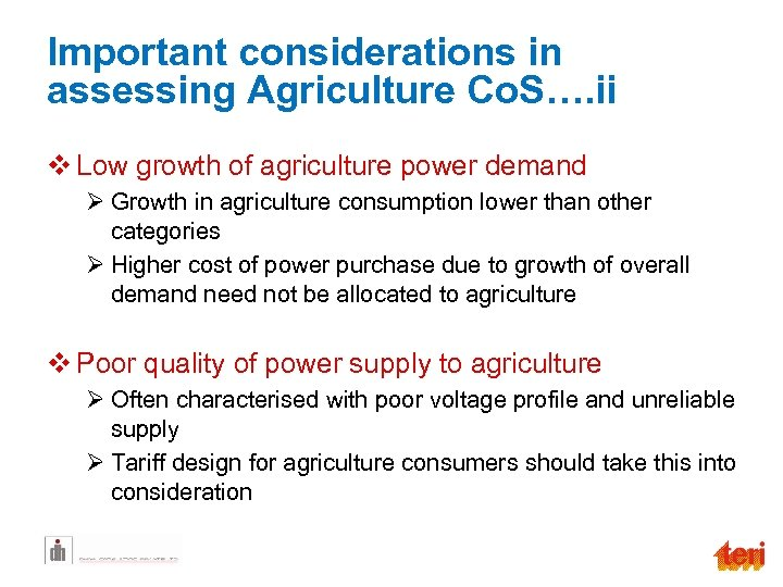 Important considerations in assessing Agriculture Co. S…. ii v Low growth of agriculture power