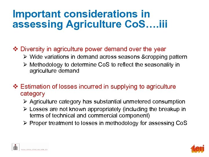 Important considerations in assessing Agriculture Co. S…. iii v Diversity in agriculture power demand