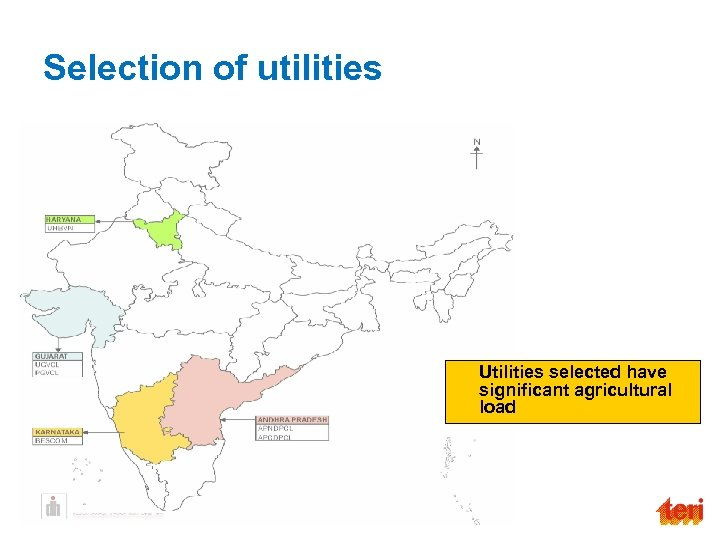 Selection of utilities Utilities selected have significant agricultural load