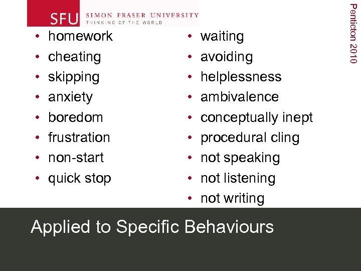homework cheating skipping anxiety boredom frustration non-start quick stop • • • waiting avoiding