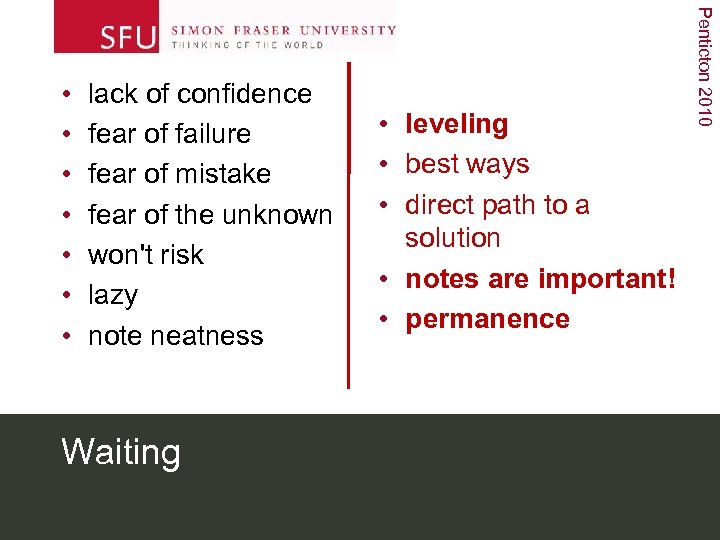 lack of confidence fear of failure fear of mistake fear of the unknown won't