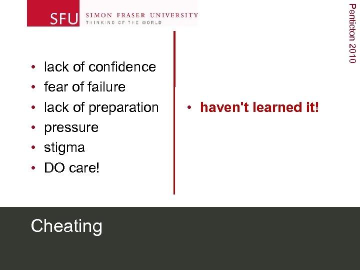 lack of confidence fear of failure lack of preparation pressure stigma DO care! Cheating